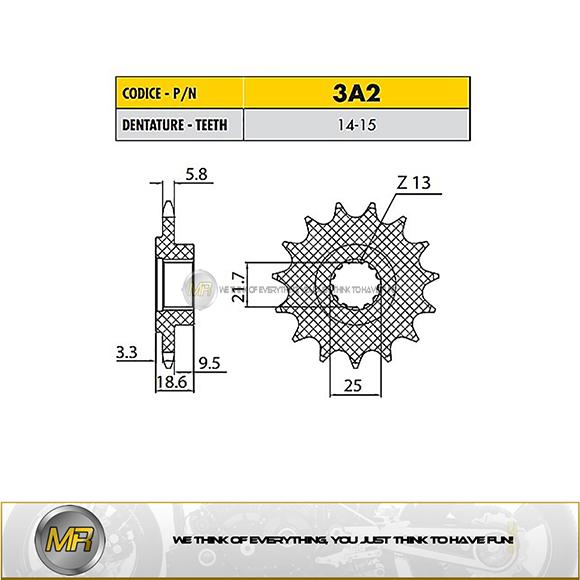ABS 750 2011-2012 3A214 PIGNONE SUNSTAR 14 DENTI KAWASAKI Z 750 R