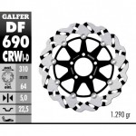 DF690CRWD - DISCO FRENO FLOTTANTE WAVE SCANALATO DESTRA (C. ALU.) 310x5mm SUZUKI GSXR 750/1100 RANURADO ANTERIORE