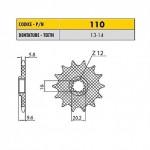 11013 - Pignone in Acciaio Sunstar Passo 420 con 13 denti