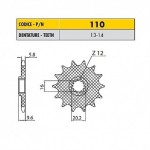 11014 - Pignone in Acciaio Sunstar Passo 420 con 14 denti