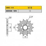 11115 - Pignone in Acciaio Sunstar Passo 420 con 15 denti