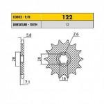 12212 - Pignone in Acciaio Sunstar Passo 420 con 12 denti