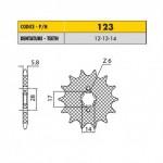 12314 - Pignone in Acciaio Sunstar Passo 420 con 14 denti