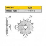 12414 - Pignone in Acciaio Sunstar Passo 420 con 14 denti
