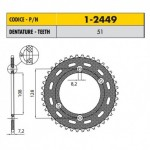 1-2449-51 - Corona in Acciaio Sunstar passo 428 con 51 denti