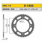 5-1455-45BK - Corona in Ergal Sunstar passo 420 con 45 denti