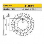8-3619-49 - Corona in Acciaio Inox Works-Z - Lega in Acciaio Inox Sunstar passo 520 con 49 denti