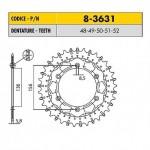 8-3631-50 - Corona in Acciaio Inox Works-Z - Lega in Acciaio Inox Sunstar passo 520 con 50 denti